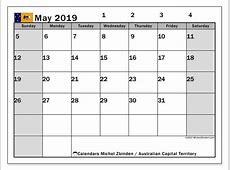 Calendar May 2019, Australian Capital Territory