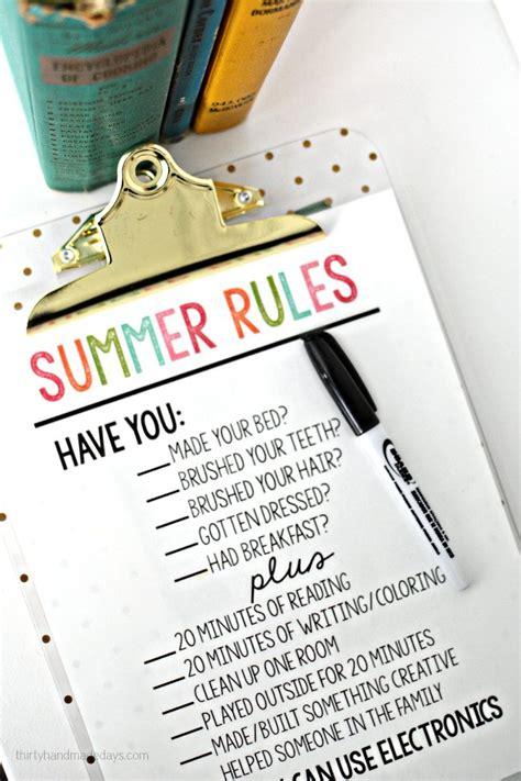 printable summer rules  handmade days