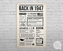 Back In 1947 Newspaper-Style DIGITAL Poster 70th Birthday