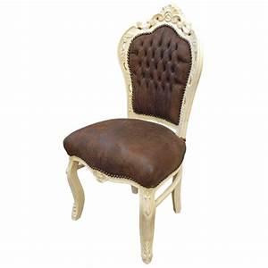 Chaise Style Baroque : chaise de style baroque rococo tissu chocolat et bois laqu beige ~ Teatrodelosmanantiales.com Idées de Décoration