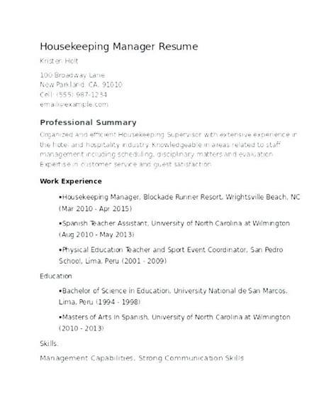 Exles Of Housekeeping Resumes by Resume Exles Housekeeping Housekeeping Supervisor