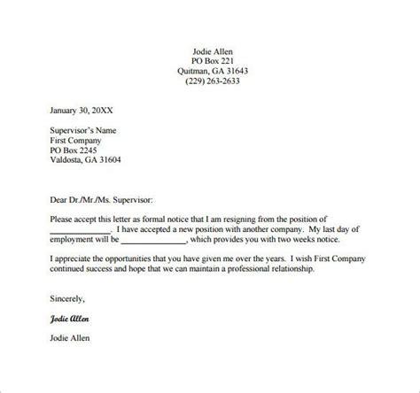 sample resignation letter template formal resignation