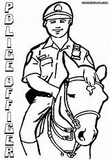 Police Officer Coloring Pages Horse Policeofficer sketch template