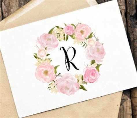 printable diy monogram card office stationery thank you