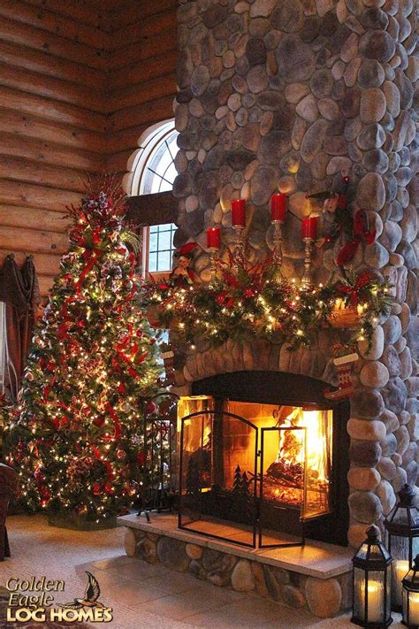 christmas decorated log homes images  pinterest