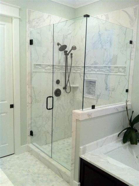 calacatta gold marble shower contemporary atlanta
