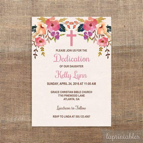 EDITABLE Baptism or Dedication Invitation Template Pink