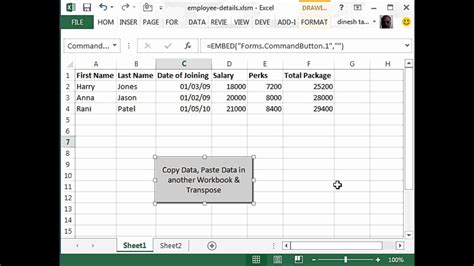 transfer data   table   excel