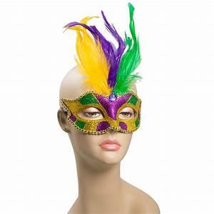 Glitter Mardi Gras Feather Mask Geometric: Purple [R24590 ...