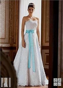 white wedding dress with tiffany blue sash high cut With tiffany blue wedding dress sash