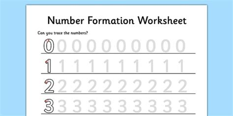 number formation worksheet 0 to 9 maths numeracy initial