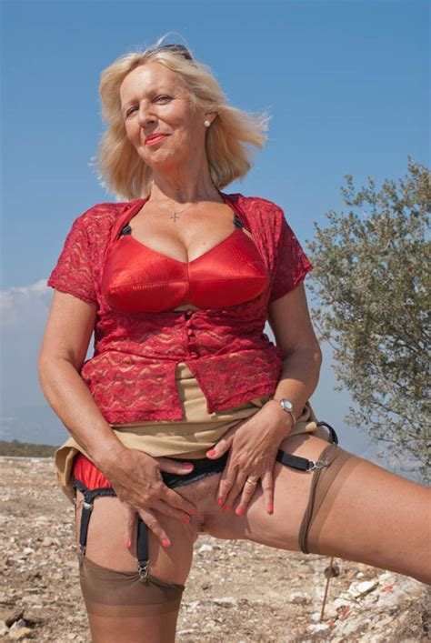 Sandy Busty Old Lady Poses Naked Outdoors