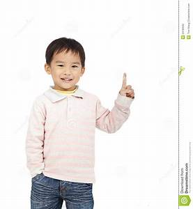 Happy kid pointing space stock photo. Image of attention ...