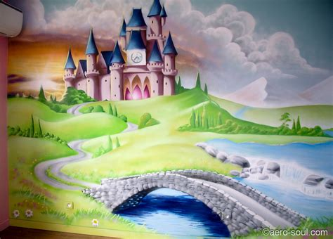 deco chambre princesse fresque murale decoration chambre fille chateau princesse