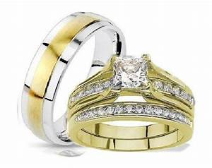 His and hers wedding rings 3 piece set yellow gold plated for 3 piece his and hers wedding rings