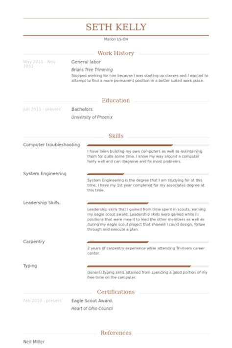 general labor resume sles visualcv resume sles