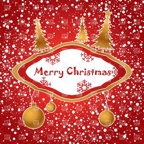 red christmas card with snow and decorations 20349