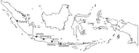 map  indonesia depicting   cities involved