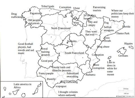 stereotype map  spain  regions    mapporn