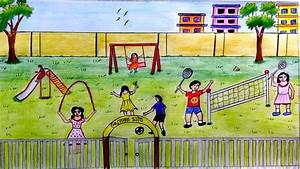 How to draw scenery of Children's playground step by step ...
