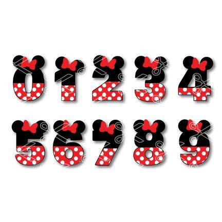 minnie mouse numbers svg dxf cute svg cut files