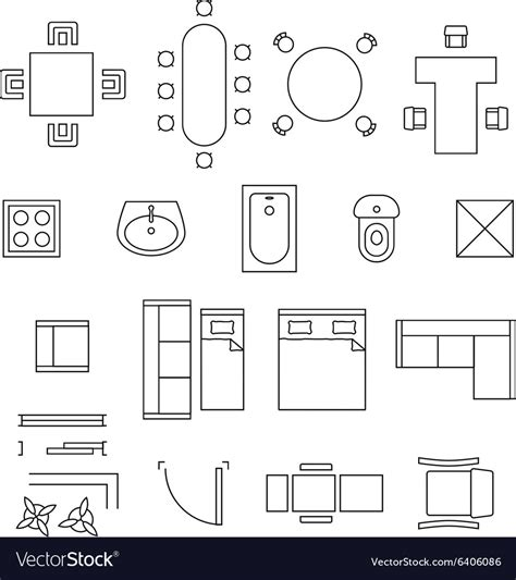 floor sink furniture linear symbols floor plan icons vector image