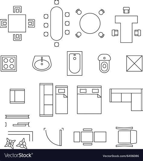 furniture linear symbols floor plan icons vector image