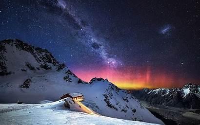 Milky Mountain Stars Snow Way Landscape Nature