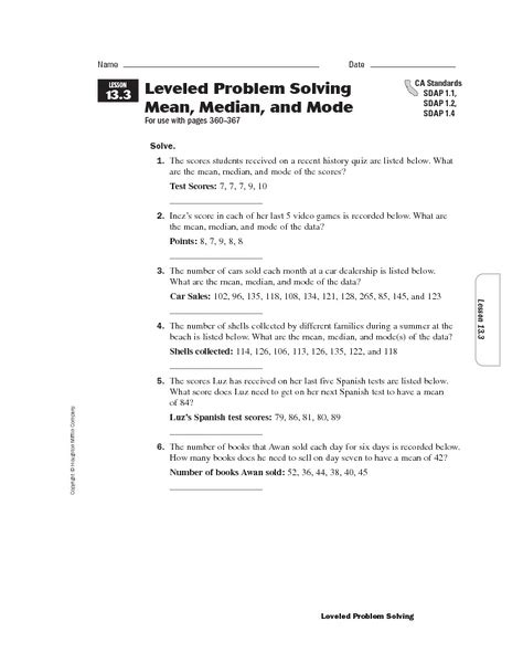 leveled problem solving mean median and mode worksheet for 5th 6th grade lesson planet