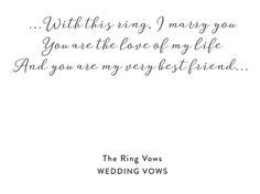 for vows and exchanging of rings each person would say the vow separately and then the ring