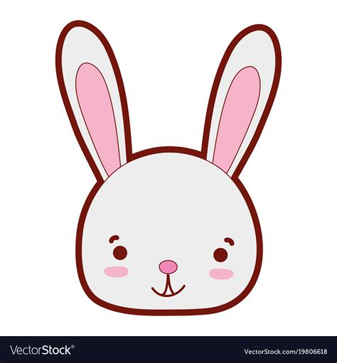 color smile rabbit head wild animal vector image