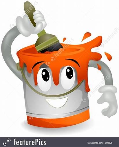 Paint Cartoon Vector Illustration Character Bucket Painting