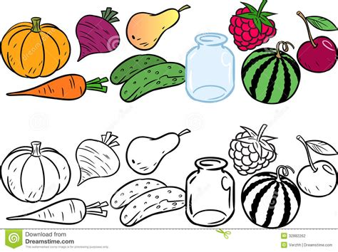 coloring  vegetables  fruits stock photo image