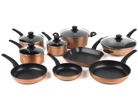 salter copper effect  piece kitchen pan set cookware nobrandsyou