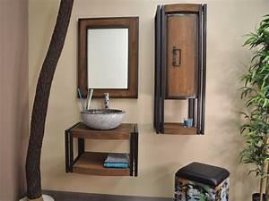 Bois Pour Salle De Bain : ensemble m tal et bois pour salle de bain comprenant un meuble suspendu en teck l60 x p 48 ~ Melissatoandfro.com Idées de Décoration