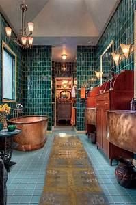 copper tub teal tile deeptealglasses tile art nouveau With art nouveau bathroom tiles