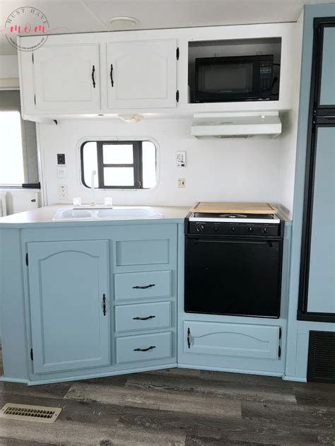 rv kitchen cabinets painting the interior of the rv trailer maintenance