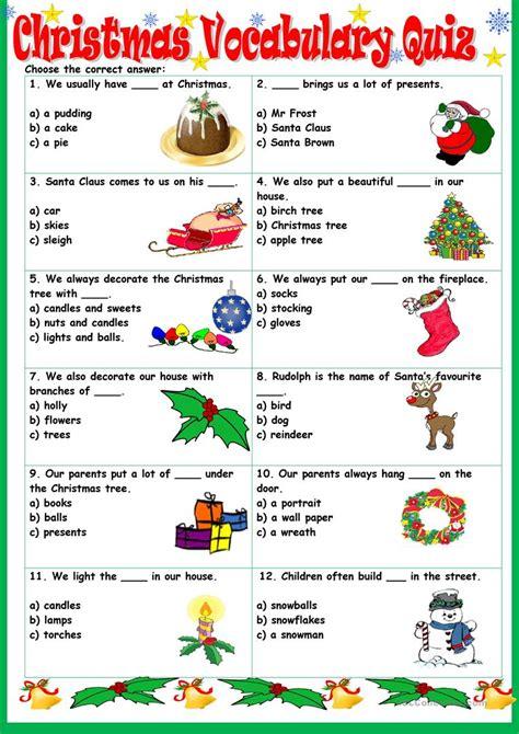 Christmas Vocabulary Quiz Worksheet  Free Esl Printable Worksheets Made By Teachers