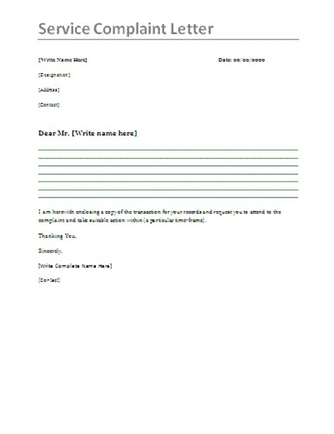 service complaint letter sample complaint letter
