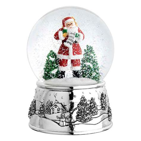 traditional christmas snowglobes reed and barton classic santa siver musical snowglobe