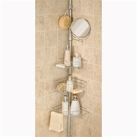 elegant home chrome tension pole shower caddy