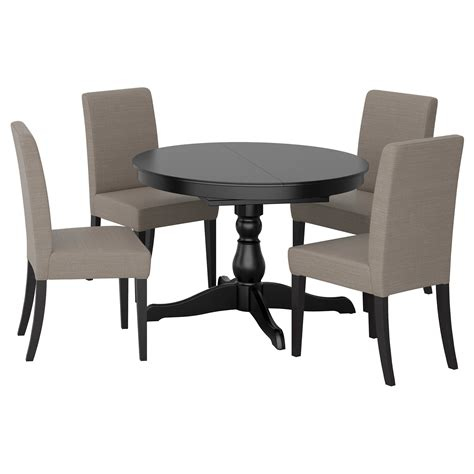 table and four chairs ingatorp henriksdal table and 4 chairs black nolhaga grey