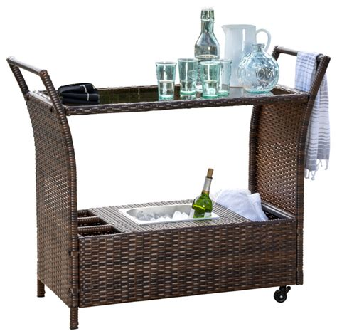 benett wicker serving bar cart brown tropical outdoor