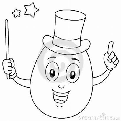 Egg Magician Coloring Character Cartoon Magic
