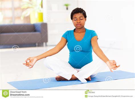 pregnant woman meditation stock photo image