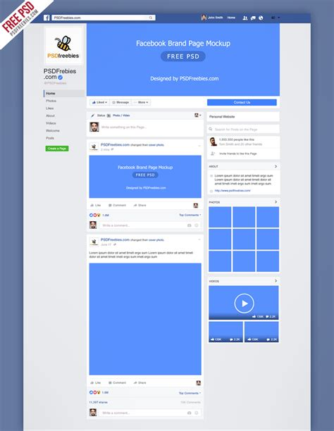 Mock Page Template by Mockup Fanpage 2016 Free Template On Behance