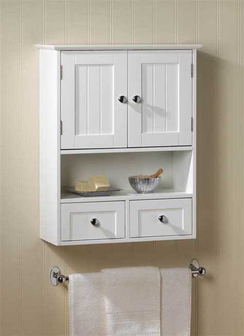 white 2 drawer hanging bathroom wall medicine cabinet