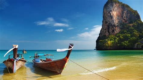 thailand tropical beach boats hd wallpaper