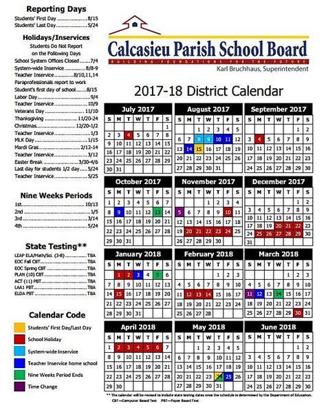 louisiana school board school year calendars parish