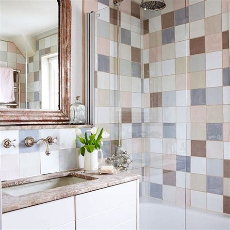 Redecorating Living Room Ideas by Country Bathroom With Pastel Tiles Decorating
